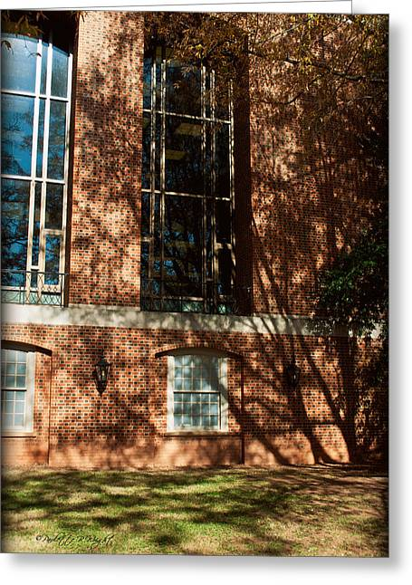 Corporate Elites Greeting Cards - Shadows Across The Library - Davidson College Greeting Card by Paulette B Wright