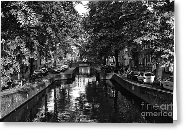 The Nature Center Greeting Cards - Shadows Along the Amsterdam Canal mono Greeting Card by John Rizzuto