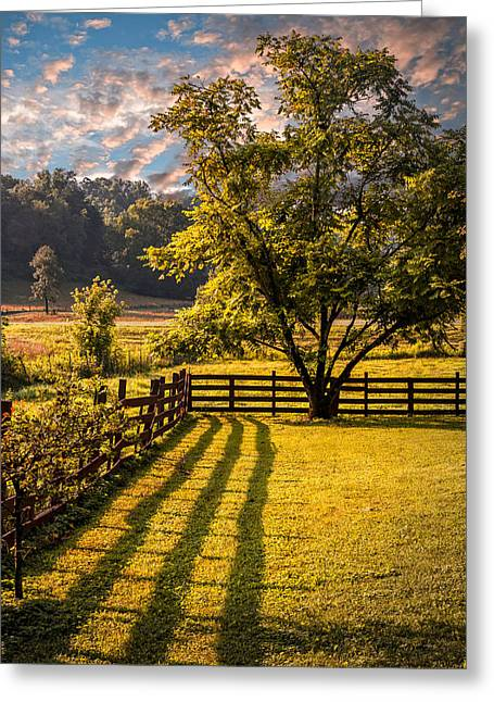 Autumn In The Country Greeting Cards - Shadows Along the Fence Greeting Card by Debra and Dave Vanderlaan