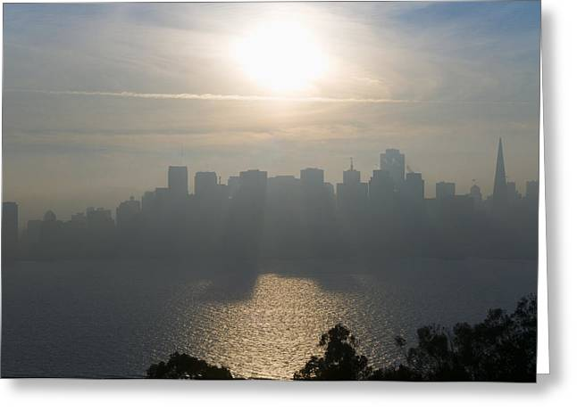 Downtown San Francisco Greeting Cards - Shadows And Light Filtering Through The City Greeting Card by Scott Lenhart
