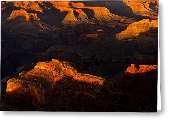 South Rim Greeting Cards - Shadows and Light in the Grand Canyon Greeting Card by Andrew Soundarajan