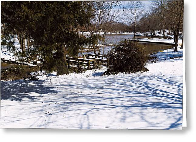 Snow-covered Landscape Digital Art Greeting Cards - Shadows and Snow - Winter Landscape Greeting Card by Barry Jones