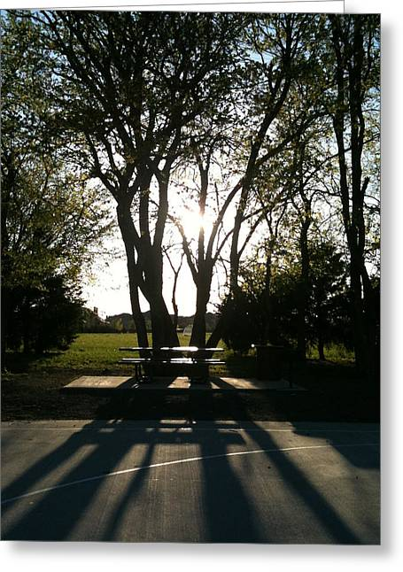 Playground Pyrography Greeting Cards - Shadows Greeting Card by Api Leuridan
