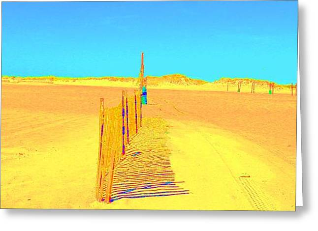 Sand Fences Pastels Greeting Cards - Shadows Greeting Card by Dan Hilsenrath