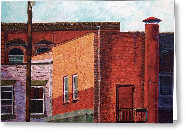 Brick Pastels Greeting Cards - Shadows in Dover Greeting Card by David Derr