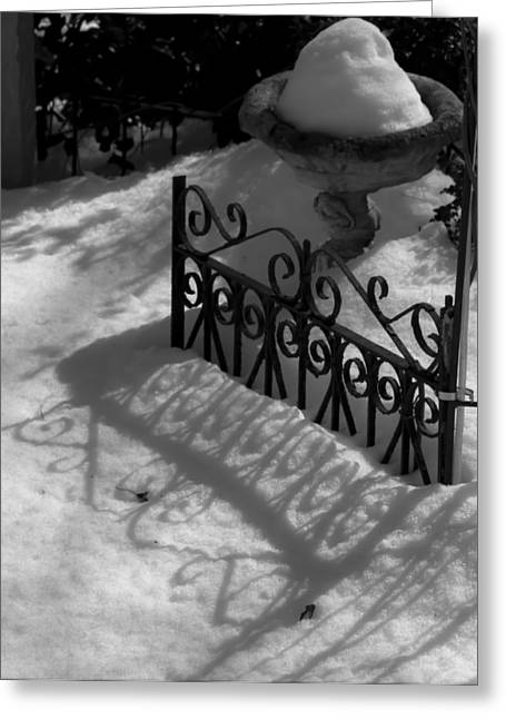 Wrought Iron Gate Greeting Cards - Shadows in the Snow BW Greeting Card by Teresa Mucha