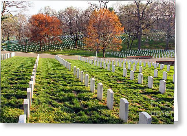 Arlington Greeting Cards - Shadows of Courage Arlington National Cemetery  1159 Greeting Card by Jack Schultz