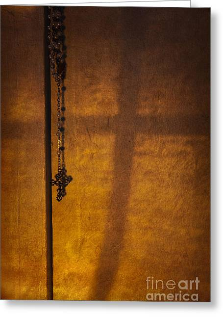 Rosary Greeting Cards - Shadows of Faith Greeting Card by Margie Hurwich