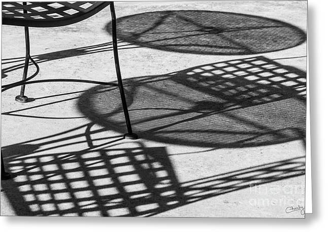 Patio Table And Chairs Photographs Greeting Cards - Shadows of Outdoor Cafe II Greeting Card by Imagery by Charly