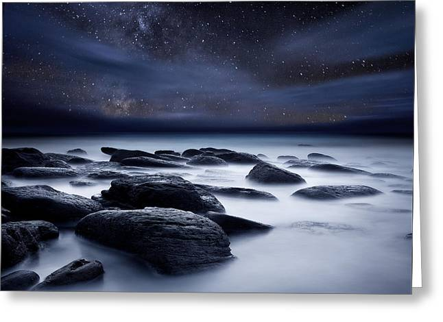 Ocean Moods Greeting Cards - Shadows of the Night Greeting Card by Jorge Maia