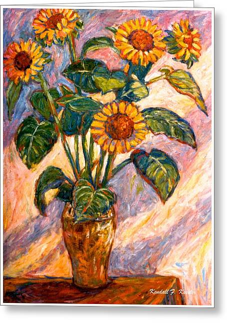 Yellow Sunflower Greeting Cards - Shadows on Sunflowers Greeting Card by Kendall Kessler
