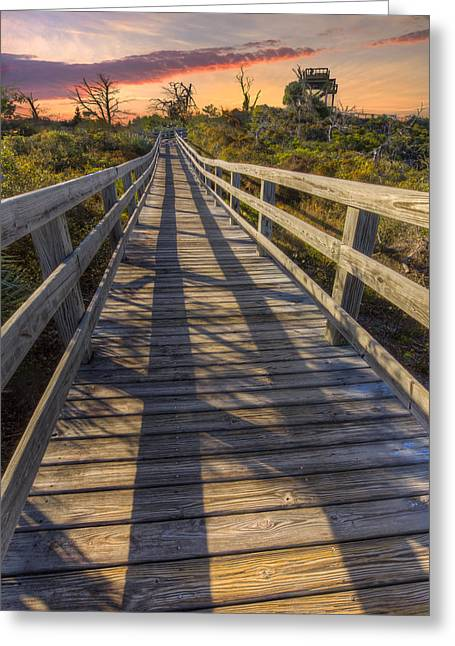 Dickenson Greeting Cards - Shadows on the Boardwalk Greeting Card by Debra and Dave Vanderlaan