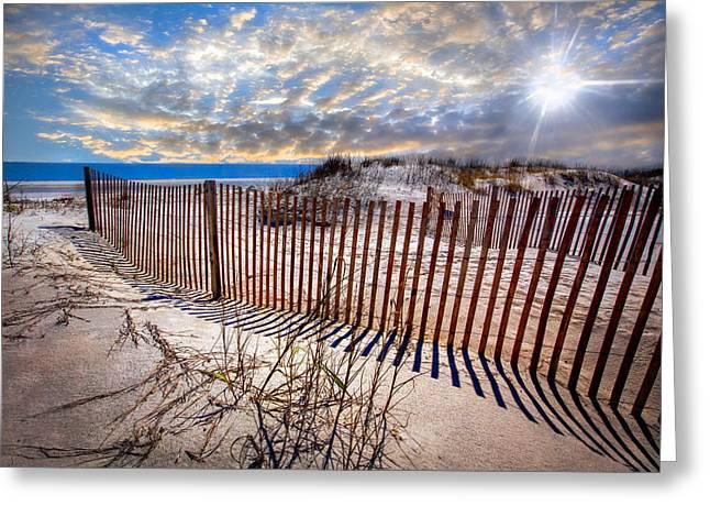 Sanddune Greeting Cards - Shadows on the Dunes Greeting Card by Debra and Dave Vanderlaan