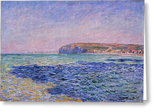 Pourville Greeting Cards - Shadows on the Sea. The Cliffs at   Pourville Greeting Card by Claude Monet