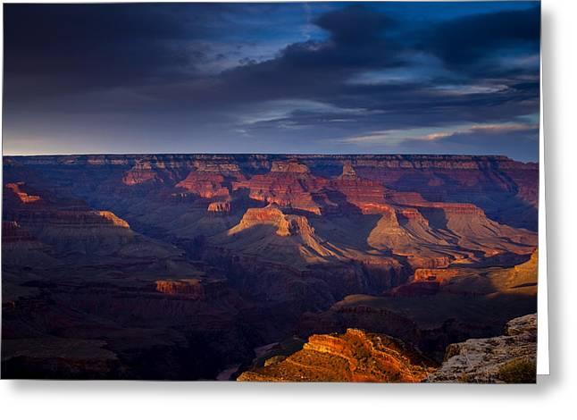 Shadows Play at the Grand Canyon Greeting Card by Andrew Soundarajan