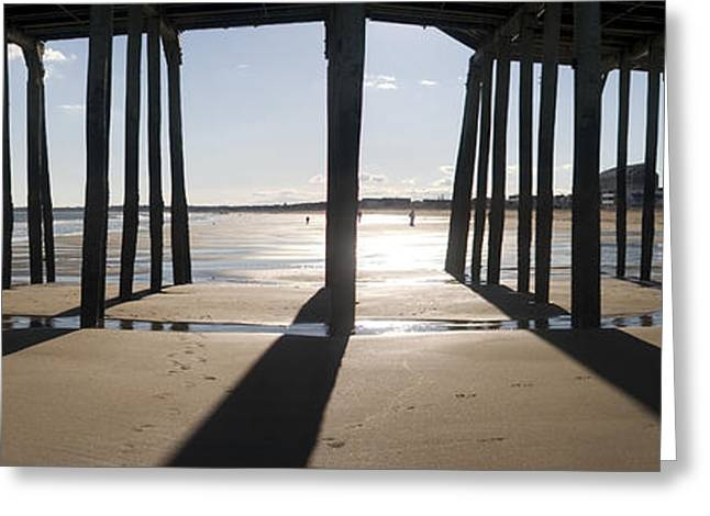 Maine Beach Greeting Cards - Shadows Under the Pier Greeting Card by David Bishop