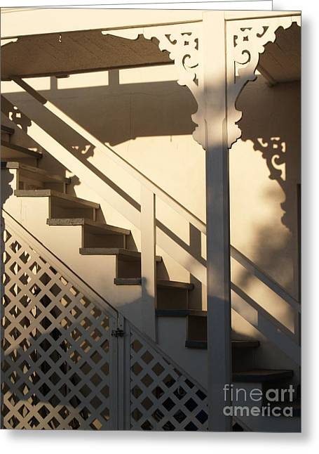 Wooden Stairs Greeting Cards - Shadowy Lambertville Stairwell Greeting Card by Anna Lisa Yoder