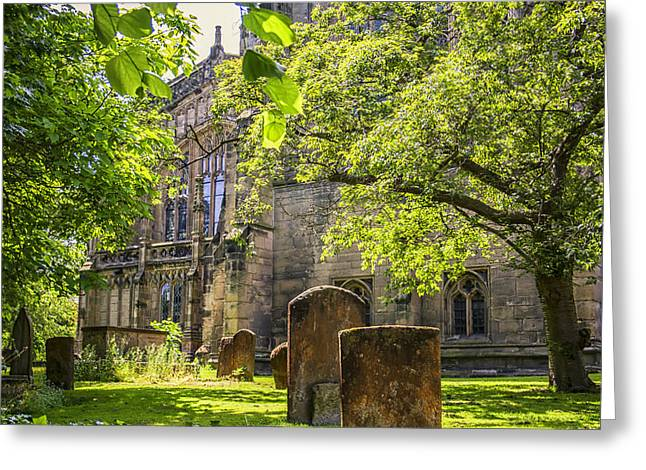 Headstones Greeting Cards - Shady Green Churchyard at Warwick Greeting Card by Nomad Art And  Design