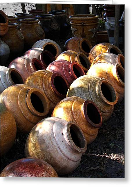 Muted Ceramics Greeting Cards - Shady Jars Greeting Card by Jerry Moffett