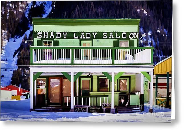 Saloons Greeting Cards - Shady Lady Saloon Greeting Card by Janice Rae Pariza