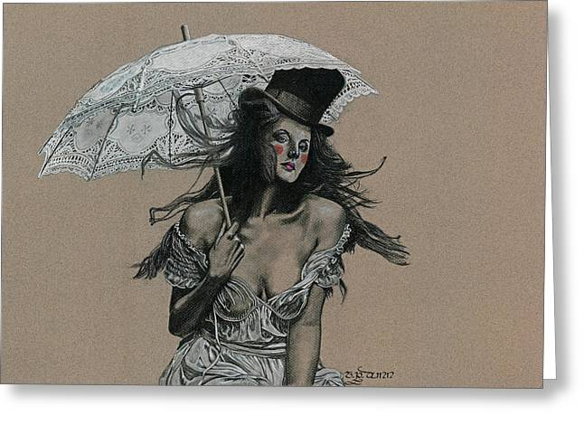 Ink And Pencil Girl Drawings Greeting Cards - Shady Lady Greeting Card by TP Dunn