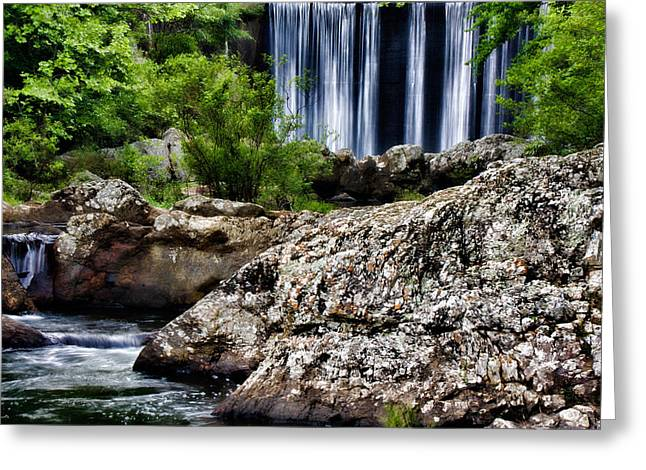 Shady Lake Falls Greeting Card by Lana Trussell