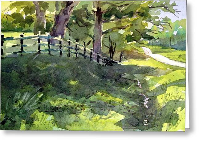 Oak Creek Paintings Greeting Cards - Shady Lane Greeting Card by Spencer Meagher