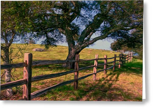 Sonoma County Mixed Media Greeting Cards - Shady Oak Greeting Card by John K Woodruff