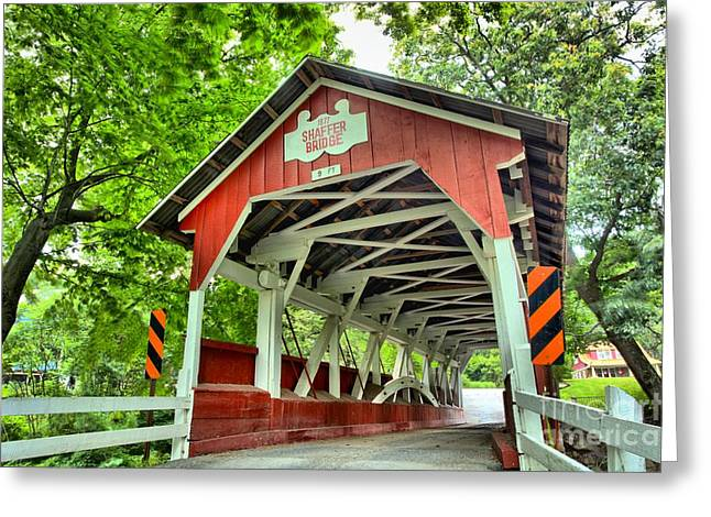 Covered Bridge Greeting Cards - Shafer Covered Bridge Greeting Card by Adam Jewell
