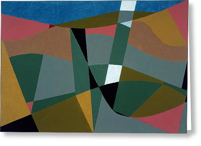 Abstract Shapes Greeting Cards - Shafted Landscape, 2001 Oil On Board Greeting Card by George Dannatt