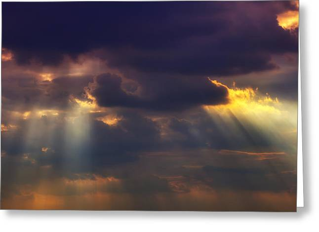 Shafts Greeting Cards - Shafts of sunlight Greeting Card by Garry Gay