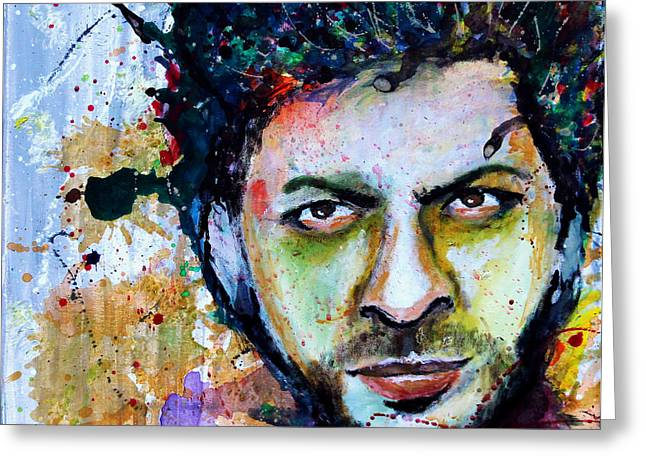 Indian Actor Greeting Cards - Shah Rukh Khan Watercolor by Minesh Pankhania - Bollywood Greeting Card by Minesh Pankhania