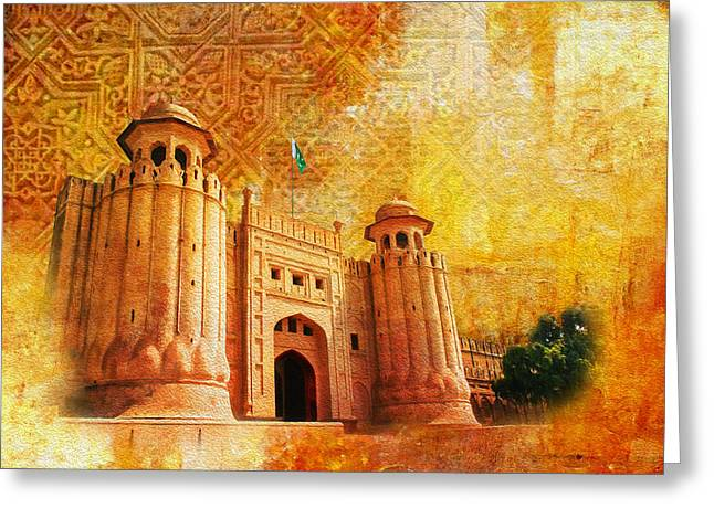 Pakistan Greeting Cards - Shahi Qilla or Royal Fort Greeting Card by Catf