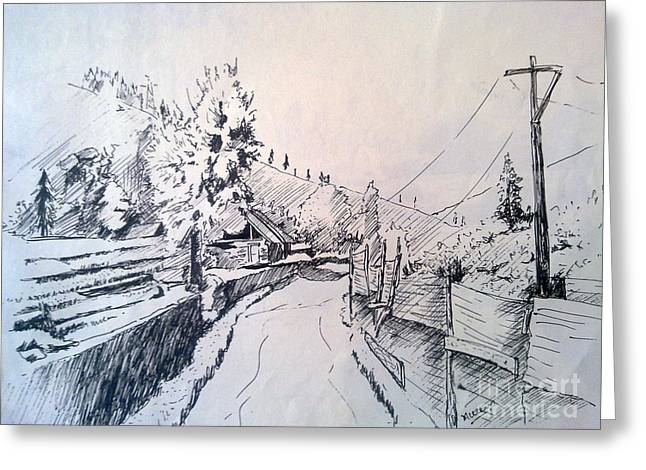 Light And Dark Drawings Greeting Cards - Shahkote Village Greeting Card by Mueen Akhtar