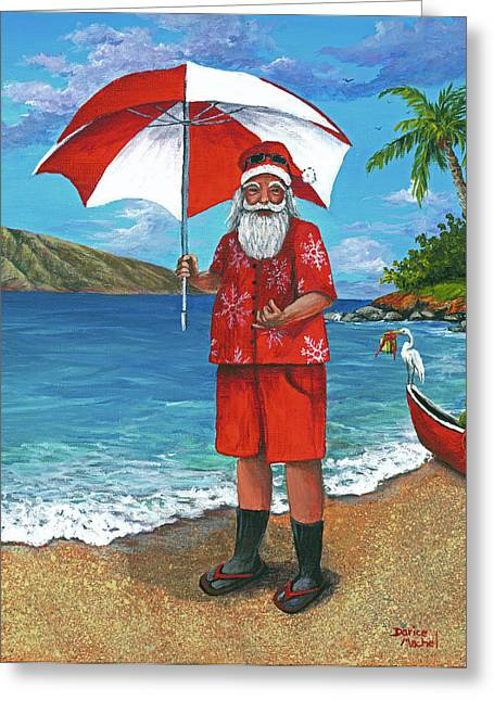 Sun Hat Greeting Cards - Shaka Santa Greeting Card by Darice Machel McGuire