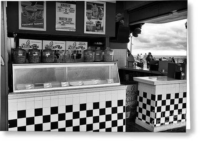 Seaside Heights Greeting Cards - Shake Stand mono Greeting Card by John Rizzuto