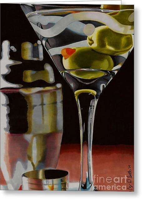 Olive Drawings Greeting Cards - Shaken not Stirred Greeting Card by Cory Still