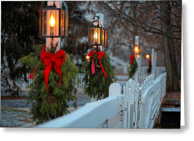 Shakers Greeting Cards - Shaker Lamp Posts Greeting Card by Lone  Dakota Photography