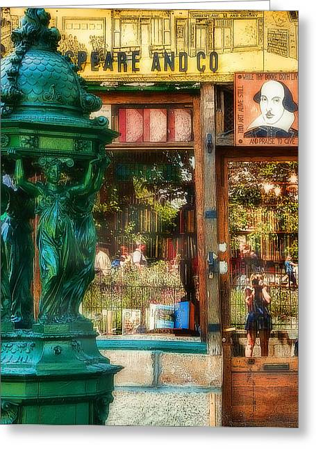 Famous Photographer Greeting Cards - Shakespeare and Co and I Greeting Card by Joanna Madloch