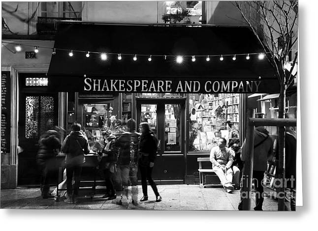 Paris At Night Greeting Cards - Shakespeare and Company Greeting Card by John Rizzuto