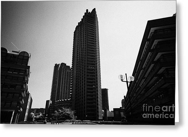 Brutalist Greeting Cards - Shakespeare Tower And Defoe House In The Barbican Residential Estate London England Uk Greeting Card by Joe Fox