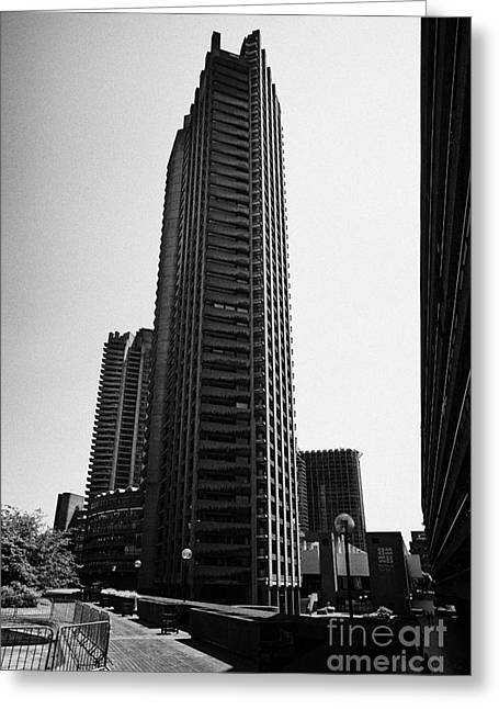 Brutalist Greeting Cards - Shakespeare Tower In The Barbican Residential Estate London England Uk Greeting Card by Joe Fox