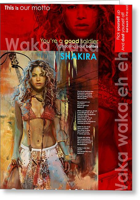 Shakira Paintings Greeting Cards - Shakira Art Poster Greeting Card by Corporate Art Task Force