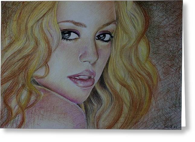 Singer Songwriter Pastels Greeting Cards - Shakira Colombia Greeting Card by Luz Amanda Luz