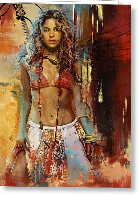 Shakira Paintings Greeting Cards - Shakira  Greeting Card by Corporate Art Task Force