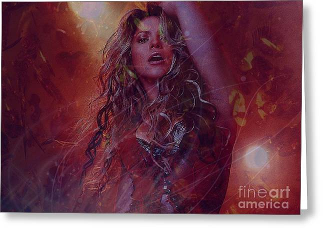 Shakira Greeting Card by Jessie Art