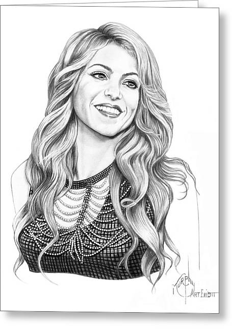 Pencil Drawing Greeting Cards - Shakira Greeting Card by Murphy Elliott