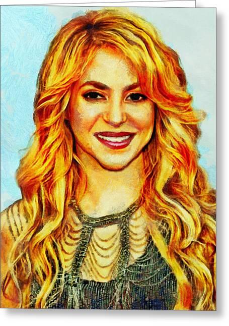 Shakira Paintings Greeting Cards - Shakira Greeting Card by Nikola Durdevic