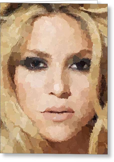 Shakira Paintings Greeting Cards - Shakira Portrait Greeting Card by Samuel Majcen