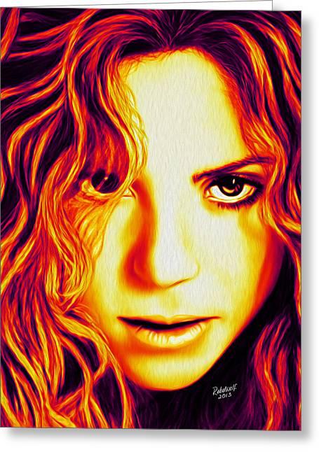 Shakira Greeting Card by Rebelwolf